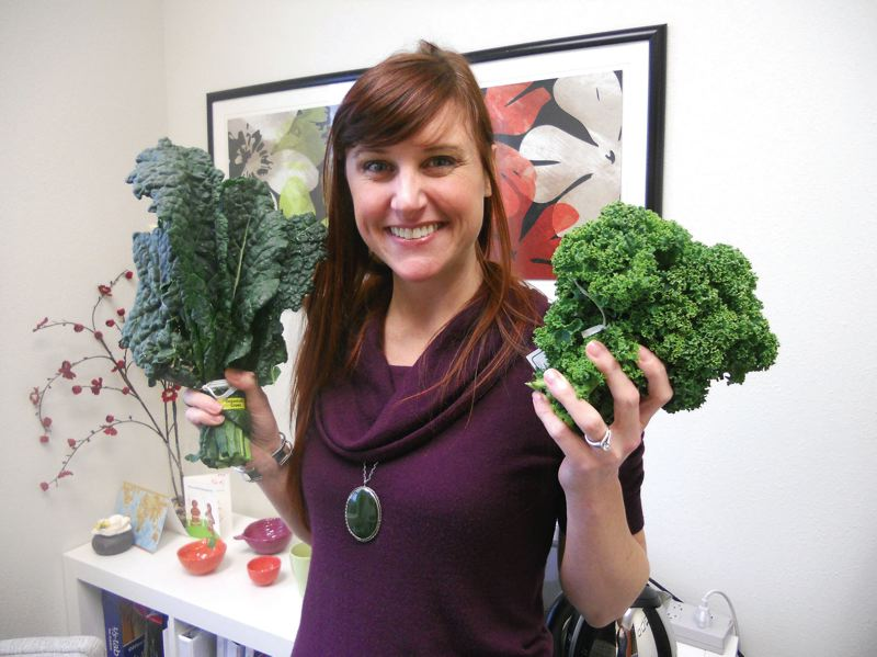 TRIBUNE PHOTO: SCOTT KEITH - Tobi Page is a registered dietician in the Portland area who promotes the benefits of eating kale.