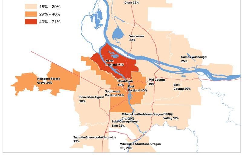 All parts of the region experienced double digit rent increases from 2011 to 2015, with the highest in North Portland. Source: Published by Metro with data from Multifamily NW and Axiometrics Johnson Economics.