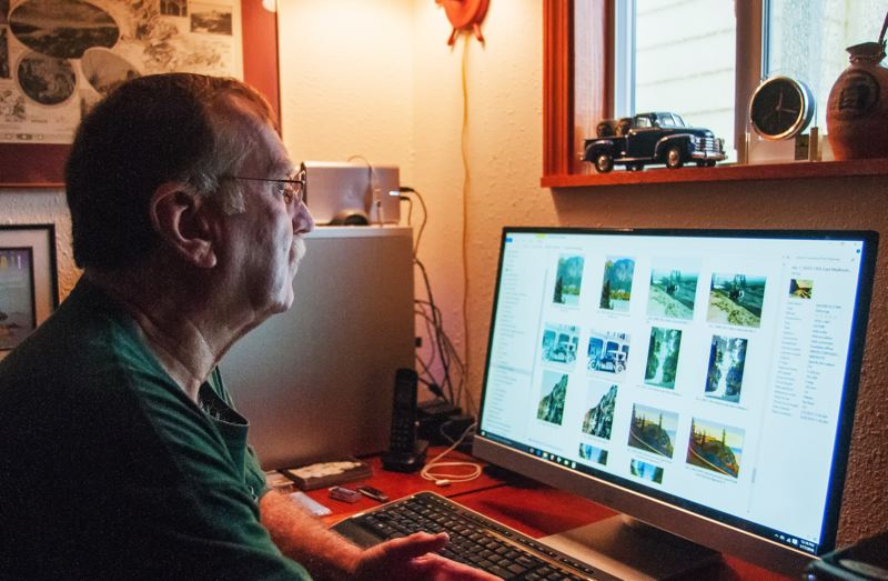 OUTLOOK PHOTO: JOSH KULLA - Photoshop and other software have proved to be an indispensible tool for David Sell as he scans and enlarges historic images for printing.