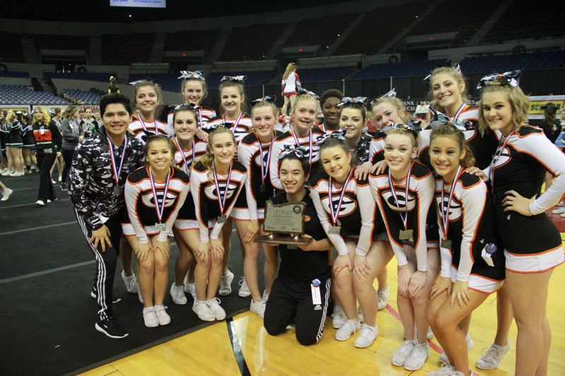 PHOTO BY JONATHAN SANCHEZ - Gladstone High School cheerleading athletes did Clackamas County proud with a second-place finish at the state championship last weekend.
