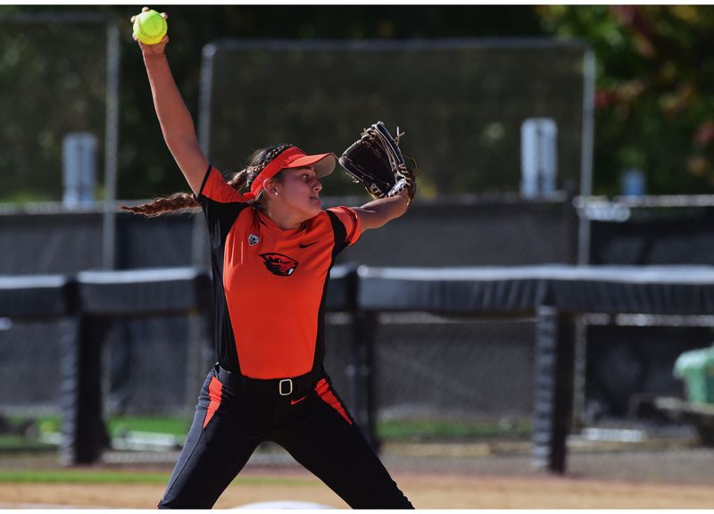 COURTESY: OREGON STATE UNIVERSITY - Meehra Nelson delivers a pitch for the Oregon State Beavers.