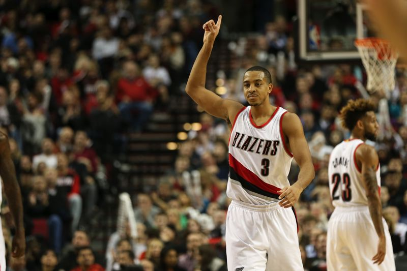 TRIBUNE PHOTO: DAVID BLAIR - CJ McCollum matched backcourt mate Damian Lillard's 34 points Tuesday night as the Trail Blazers toppled the Brooklyn Nets at Moda Center.