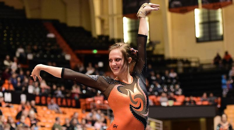 COURTESY: OREGON STATE UNIVERSITY - McKenna Singley, a freshman, posted a career-best score in the final floor exercise routine Monday night to push No. 20 Oregon State to a home win over No. 12 Stanford at Gill Coliseum in Corvallis.