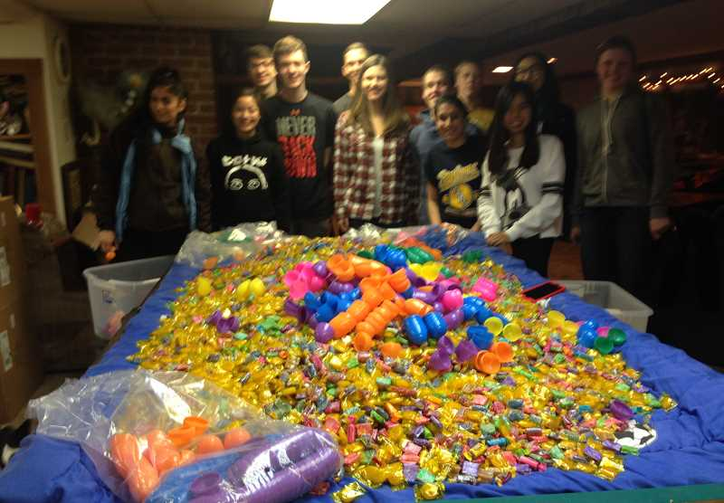 SUSAN WILLIAMS - Molalla High School and Country Christian School Key Clubs have been busy stuffing eggs for the Annual Kiwanis Community Easter Egg Hunt.