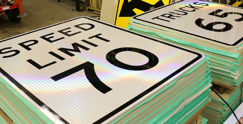 COURTESY PHOTO: ODOT - New speed limit signs are ready to be installed along Interstate 84 east of The Dalles and other state highways in Eastern and Central Oregon.
