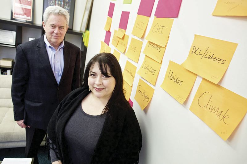 TRIBUNE PHOTO: JAIME VALDEZ - Carmen Rubio, executive director of the Latino Network of Oregon, and Tim Nesbitt, who is working with Stand for Children, are championing an initiative campaign to provide money for vocational education, dropout prevention programs.
