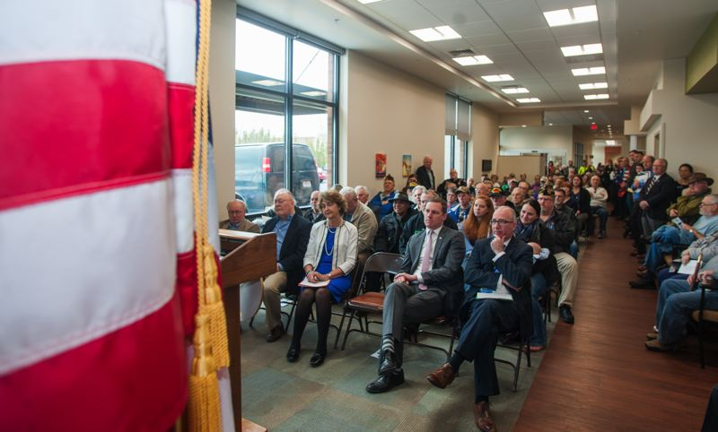 OUTLOOK PHOTO: JOSH KULLA - The new VA Clinic in Fairview was dedicated before a packed house Thursday.