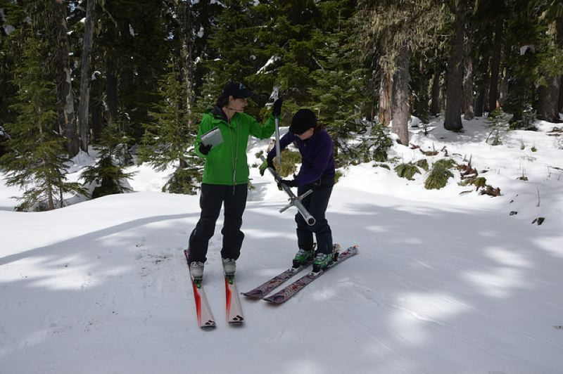 COURTESY PHOTO: TRACY ROBILLARD/NRCS - Hydrologists Julie Koeberle and Amy Burke measured snowpack on Mount Hood last year as part of the USDA Natural Resources Conservation Service project. This year's snowpack is near normal in Western Oregon, and above normal in Eastern Oregon.
