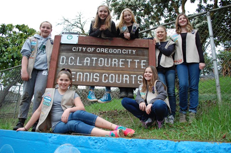 2016 PMG FILE PHOTO: RAYMOND RENDLEMAN - Members of Oregon City Girl Scout Troop 45064 include Springwater Environmental Sciences School students (standing, from left) Kate Buehrig, Lucy McKay, Briley Schneider, Stella Beatty and Paige Norton, and Ogden middle-schoolers (sitting, from left) Taryn Gehrke and Ella Rumpca.