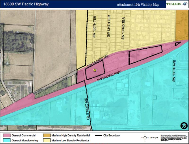 MAP COURTESY OF THE CITY OF TUALATIN - Property owned by Stein Woodburn LLC at the junction of Southwest Pacific Drive, Southwest Cipole Road and Highway 99W is proposed for annexation into the city of Tualatin.