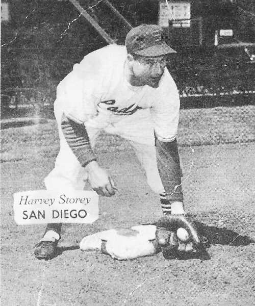 COURTESY PHOTO: BECKY STOREY CRUME  - Dilley native Harvey Storey was playing with the San Diego Padres when this baseball card was made. He also played in San Francisco, Milwaukee, Portland, San Diego, Salem, Los Angeles, Tulsa, Vancouver and several other cities.