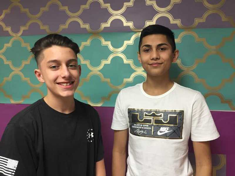 COURTESY PHOTO - Good friends Zack Branning (left) and Eddy Sanchez tracked down the student who called their teacher the n-word and brought him to the office. But they also want to protect him so have decided not to tell anyone his name.