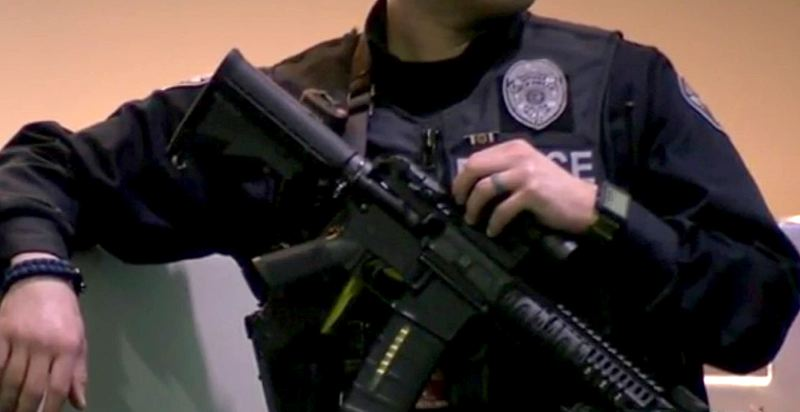 COURTESY PHOTO: KOIN 6 NEWS - Armed police officers were more visible at Portland International Airport Tuesday, hours after suicide bombers killed at least 30 people in attacks on Brussels Airport and a transit station near the European Union headquarters.