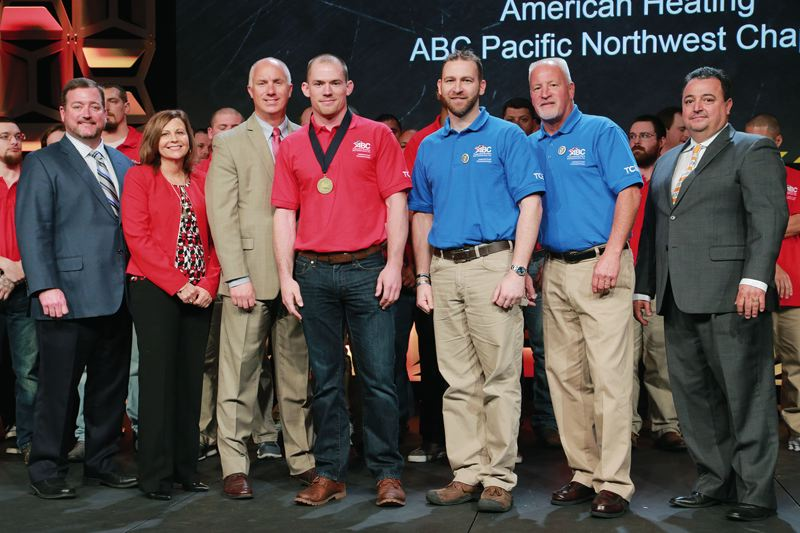 COURTESY: JERRY THOMPSON - From left to right, ABC National Chair Elect Chuck Goodrich, ABC Northeast Region Vice Chair Stephanie Schmidt, ABC National Chair David Chapin, Tom Burns, National Craft Championships Vice Chairman Shon Smith, National Craft Championships Chairman Mitch Clark and ABC Mountain West Region Vice Chair Ray Zamora.