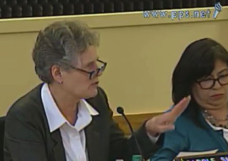 SCREENSHOT: PPS.NET - Portland Public Schools Superintendent Carole Smith delivers her boundary-change proposal to the school board, including board member Julie Esparza Brown, March 29.