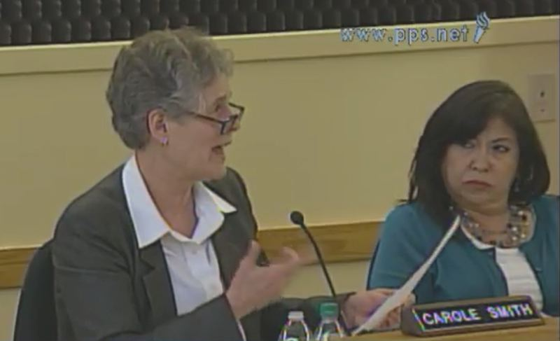 SCREENSHOT: PPS.NET - Portland Public Schools Superintendent Carole Smith and school board member Julie Esparza Brown at the March 29 school board meeting.