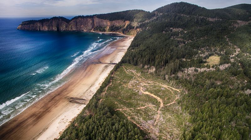 PAMPLIN MEDIA GROUP: ALVARO FONTAN - Aerial photo shows Boy Scout camps Meriwether and Lewis, with surplus land between the camps slated for possible golf course. Cape Lookout State Park is to the north.