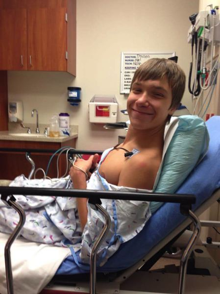 FAMILY PHOTO - Dustin Bowers, shown here in a hospital room, was born with a heart defect. He succumbed to his condition in 2015.