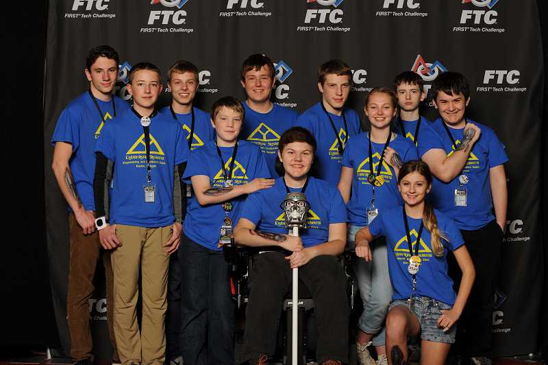 COURTESY PHOTOS - The members of Cyberdyne Systems (back row left to right): Jacob Moore, Zach Streblow, Trask Bailey, Melchiah Mauck and  Zac Cook and (front row left to right): Max Jurgensen, Rephael Mauck, Kobey Bonin, Josie OHarrow, Ariana Woodruff and Sebastian Benjamin.