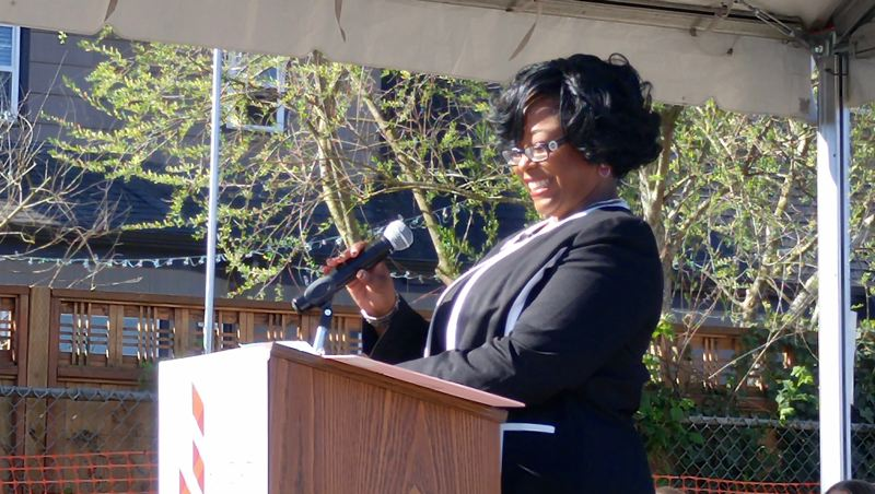 TRIBUNE PHOTO: CHRISTOPHER KEIZUR - LaShawn Lee, the principal at Faubion PK-8 School, received a standing ovation when she took the stage to address the crowd at an April 7 groundbreaking ceremony.