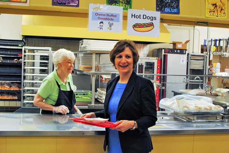 HILLSBORO TRIBUNE PHOTOS: STEPHANIE HAUGEN - U.S. Rep. Suzanne Bonamici enjoys some lunch at W. Verne McKinney Elementary School in Hillsboro last week after chatting with local hunger advocates.