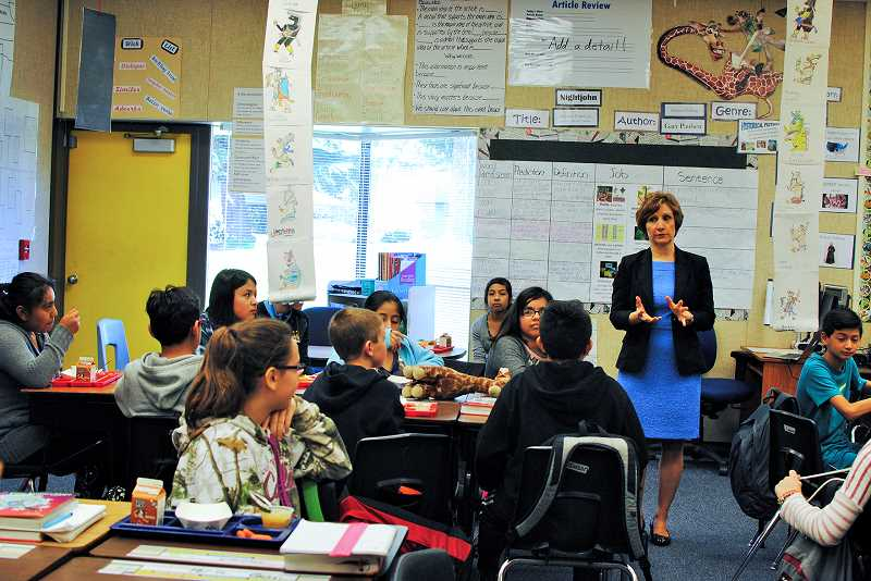 HILLSBORO TRIBUNE PHOTO: STEPHANIE HAUGEN - Sixth-graders asked Bonamici questions during her visit last week and ate lunch alongside the congresswoman.