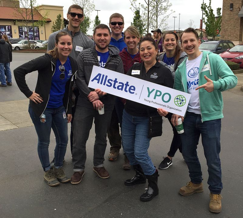 SUBMITTED PHOTO - The Young Professionals Organization from the local Allstate Claims Department - Megan Martin, Chris Thompson, Nasaria Cardoza, Bryon Bromley, Zach Goebel, Chelsey Driessen, Joel Jeffries and Kristie Serrano  - volunteered at the Arbor Day Tree Plant and Grand Opening Ceremony of the Tualatin River Greenway Trail on Saturday.