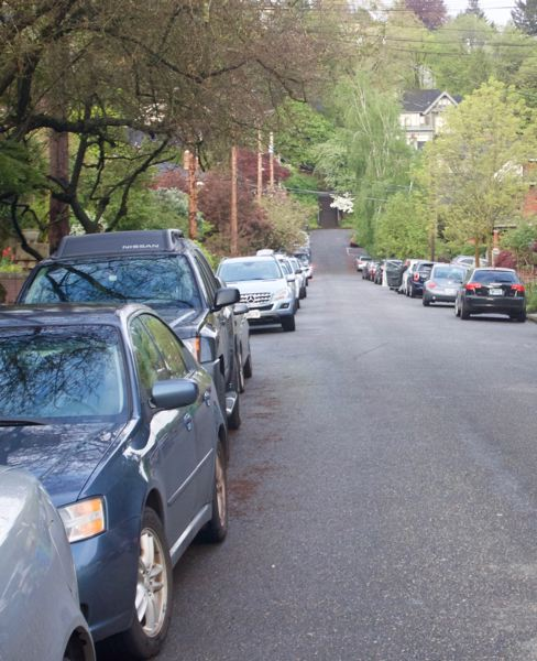 CHRISTOPHER KEIZUR - Cars line the streets on Northrup, which has yet to petition to be included in Zone M.