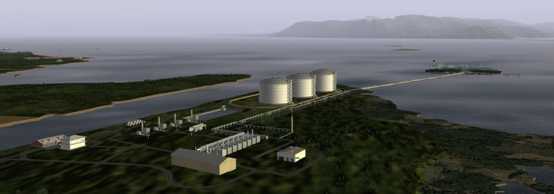 COURTESY OF CH-IV INTERNATIONAL - A rendering shows the engineering company CH-IV International's design for an Oregon LNG terminal in Warrenton.