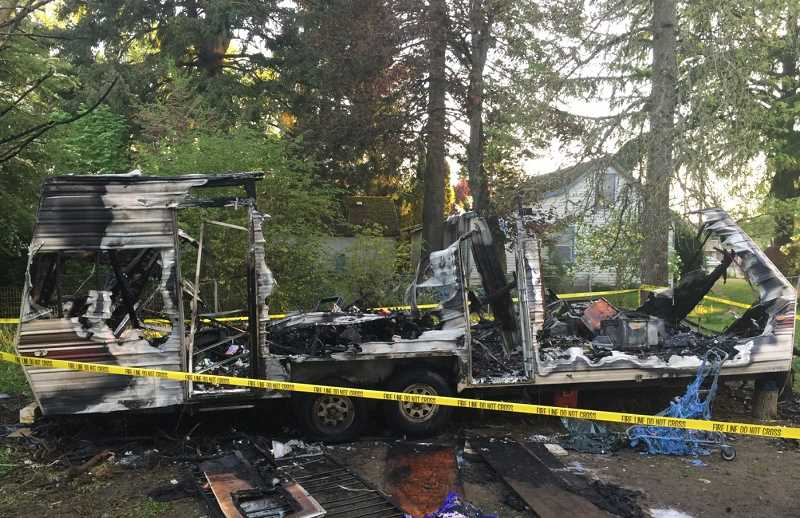 COURTESY PHOTO - A travel trailer was destroyed early Tuesday morning in Aloha. Washington County Sheriffs deputies believe the fire was intentionally set.