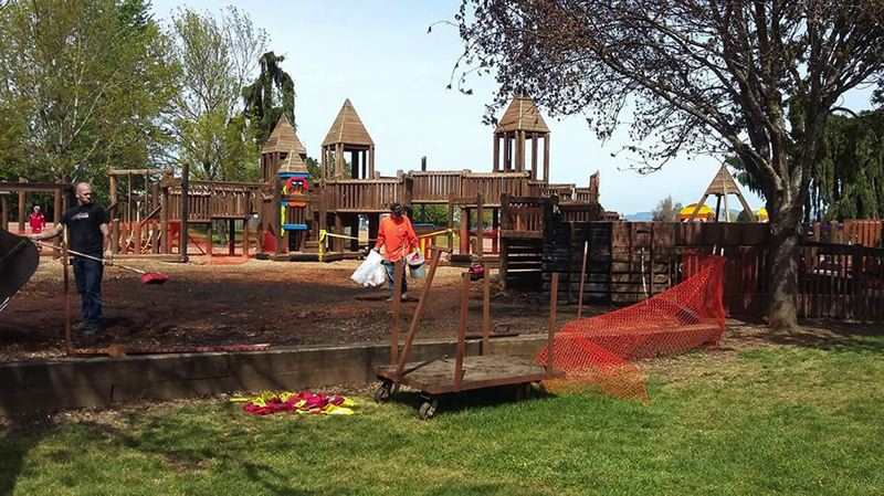 CONTRIBUTED PHOTO: SHELBY VIERNES - Sandy-based Konell Construction volunteered to clean up Imagination Station after the wooden play structure was destroyed in a fire.