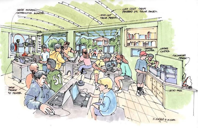 COURTESY ILLUSTRATION - A concept drawing shows what the inside of Tualatin's mobile Makerspace, a trailer packed with computers and other technology equipment, might look like.
