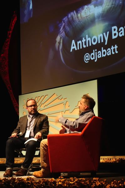 TRIBUNE PHOTO: JOSEPH GALLIVAN - Anthony Batt (right), CEO of Wevr, which makes content for virtual reality systems, said the mediium has promise because it touches people deeply. Batt's company works with comedians and hip hop acts, and has made a simulation of an 80 foot whale passing by a boat.