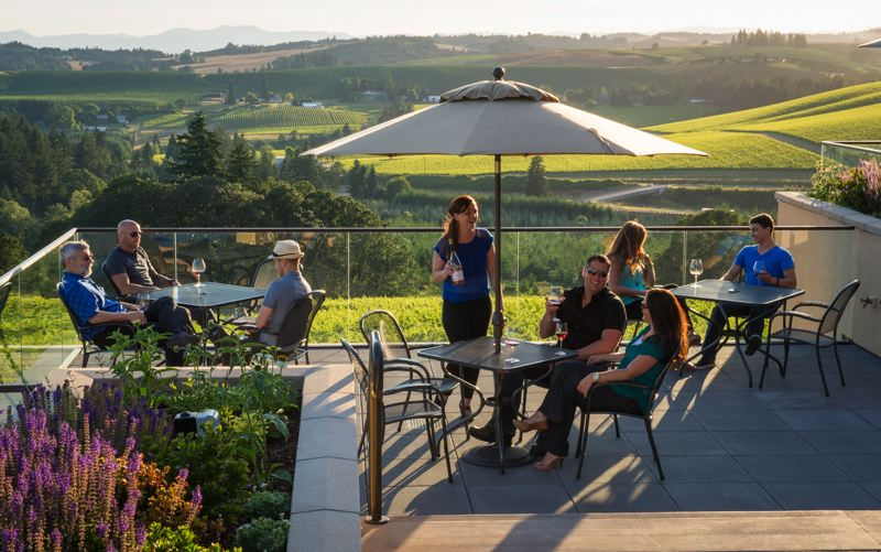 COURTESY: ANDREA JOHNSON - From valley wineries such as Willamette Valley Vineyards (pictured) to SE Wine Collective spots in Portland, it'll be a festive time during Oregon Wine Month in May. See below for event listings for more on Oregon Wine Month.