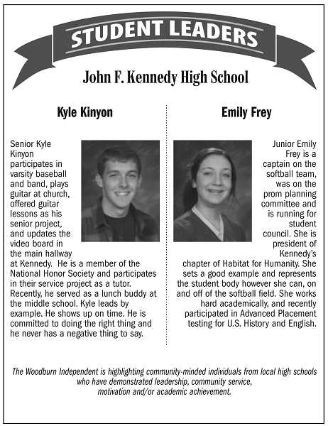 Student leaders of the week from John F. Kennedy High School in Mount Angel