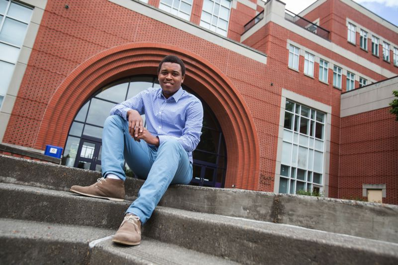 TRIBUNE PHOTO: JONATHAN HOUSE - University of Portland Pamplin School of Business graduate Jean-François Seïde came to Portland on a four-year full scholarship named after Molly Hightower, who died in the 2010 Haiti earthquake.