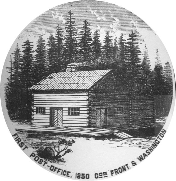COURTESY PHOTO - Portland's first post office with wood cut by William Overton.