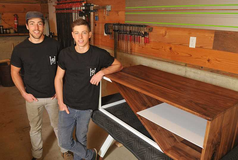 TIDINGS PHOTO: VERN UYETAKE - Brothers Dylan and Wesley Harkavy have been building thing for most of their lives, and they parlayed their talents into their own business, Harkavy Furniture, a year and a half ago.