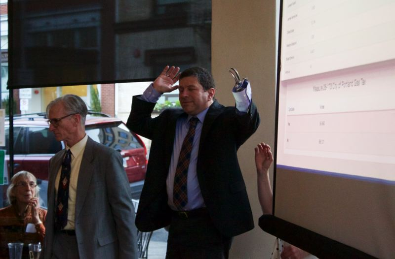 TRIBUNE PHOTO: CHRISTOPHER KEIZER - City Commissioner Steve Novick was cautiously optimistic the city gas tax increase would win after early votes were tabulated.