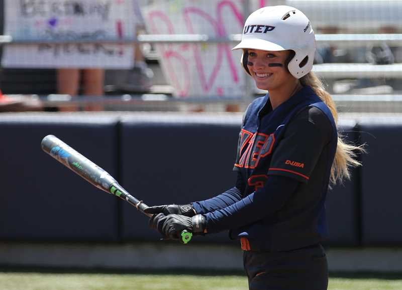 COURTESY PHOTO: MICHAEL P. REESE/UTEP ATHLETICS  - Glencoe graduate and current UTEP sophomore Courtney Clayton smiles during a Conference USA game against North Texas on May 1.