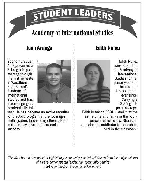 Student leaders of the week from Academy of International Studies