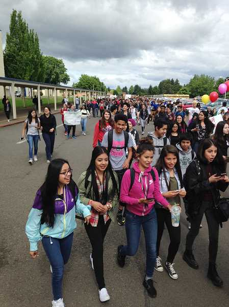 HILLSBORO TRIBUNE PHOTO: KATHY FULLER - About 200 Hilhi students marched in solidarity with Forest Grove High students May 19 by holding their own rally on the Hilhi campus.