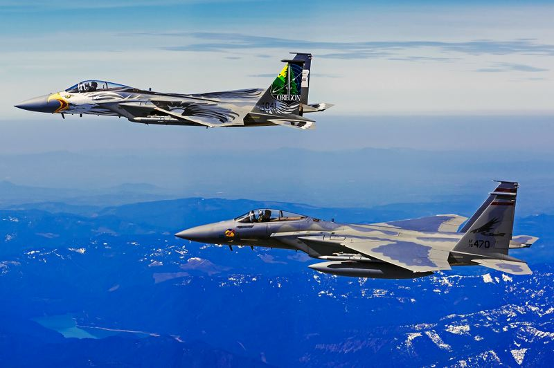 COUTESY PHOTO: SCOTT WOLFF OF FIGHTERSWEEP.COM - Oregon Air National Guard F-15 Eagle fighter jets from both the 173rd Fighter Wing in Klamath Falls, and the 142nd Fighter Wing in Portland, will fly over Memorial Day ceremonies around the state on Monday.
