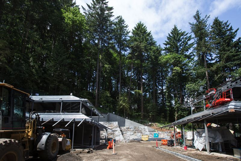 TRIBUNE PHOTO: JONATHAN HOUSE - The new construction at the Portland Japanese Garden runs across a fault line in the middle of this photo.