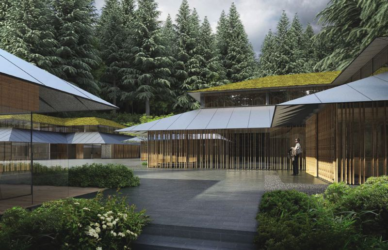 TRIBUNE PHOTO: JONATHAN ; RENDERING COURTESY KENGO KUMA & ASSOCIATES - Construction continues at the Portland Japanese Garden though April 2017, while the attraction remains open. A rendering shows Kengo Kumas design for the tea house (left), Cultural Center (right) and Gardeners Building (center distance). Under the Port Orford cedar shingles and green roofs the buildings are steel framed.