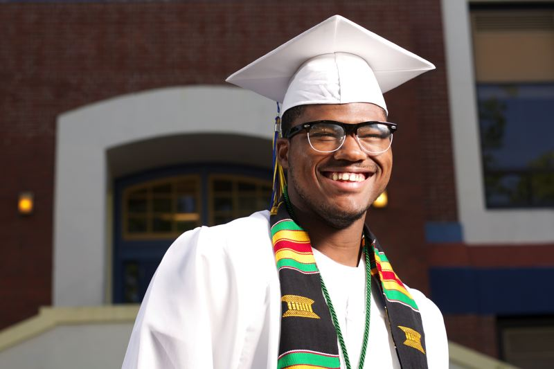 TRIBUNE PHOTO: JAIME VALDEZ - Jefferson High School senior Michael Belcha credits nonprofit Self Enhancement Inc. for his success in school. He has earned 13 college credits and a 4.0 grade-point average at Jefferson High School, and graduates on Saturday.