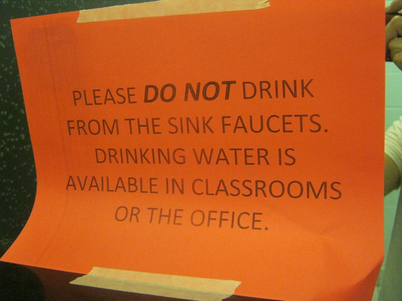 SUBMITTED PHOTO - A sign at a Portland Public Schools building warns occupants not to drink the water.