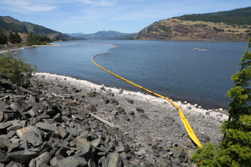 COURTESY PHOTO: AMELIA TEMPLETON/OPB - A boom tried to contain oil that leaked Friday, June 3, from derailed tanker cars into the Columbia River near Moiser.