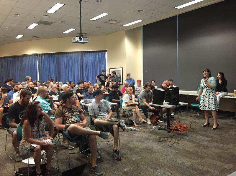 PARIS ACHEN - Carole Yann, analysis unit manager for the Oregon Medical Marijuana Program at Oregon Health Authority, gives a training Monday, June 6, 2016, on new requirements for reporting medical pot stock.
