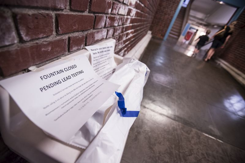 TRIBUNE PHOTO: JONATHAN HOUSE - A fountain is closed at Rose City Park School pending further lead testing.